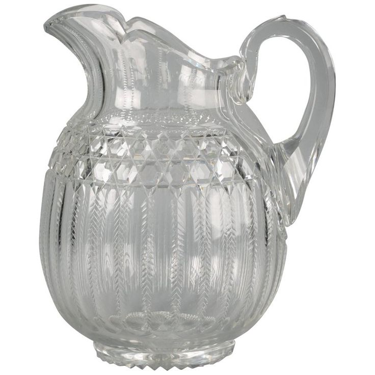 Large American Faceted Glass Pitcher, circa 1900 | From a unique collection of antique and modern pitchers at https://www.1stdibs.com/furniture/dining-entertaining/pitchers/