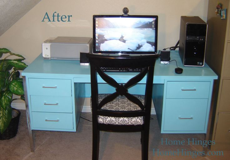 Blue Metal Desk copy... this is exactly my new desk set up! and almost the color I want to go with... but thinking gray top??
