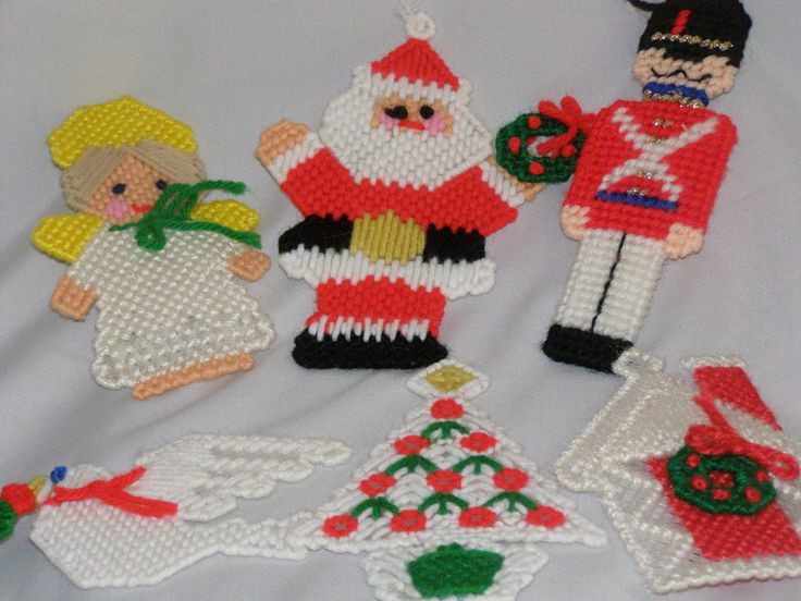 Vintage Christmas Lot of Six Plastic Canvas Ornaments 1980 by parkie2 on Etsy
