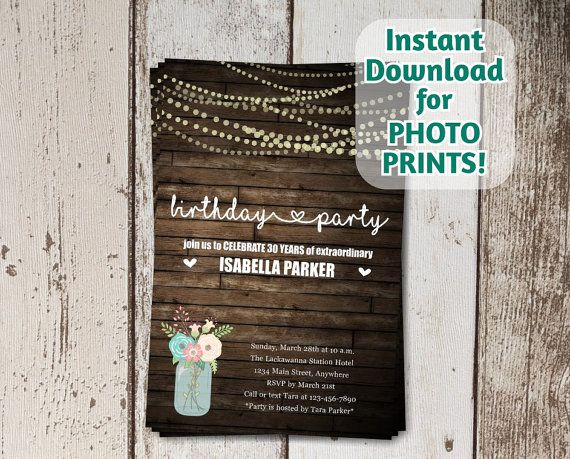 Hey, I found this really awesome Etsy listing at https://www.etsy.com/listing/252896505/printable-rustic-invitation-adult-30th
