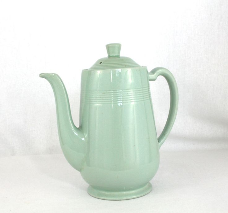 Vintage Retro Coffee Pot Woods Ware Beryl Green Art Deco Style