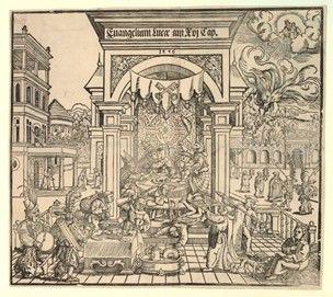 Сатира на католической церкви с притче Див как папы, и Лазаре как Мартина Лютера;  пьяные монахи и монахини, пирующих за столом, установленной под навесом, с Див (Папа Римский) целующий монахиню в центре, и Лазаря (Luther) сидящими в нижнем правом углу;  в правом верхнем углу Бог приветствует Лазаря на небесах, в то время как Див исчезает в рот ада.  1556 ксилография