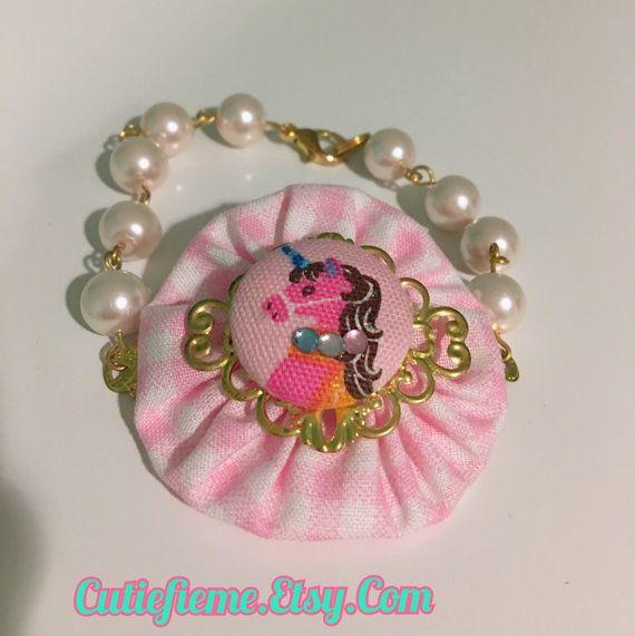 Princess Unicorn Pink Ruffle Beaded Pearl Bracelet by CutiefieMe