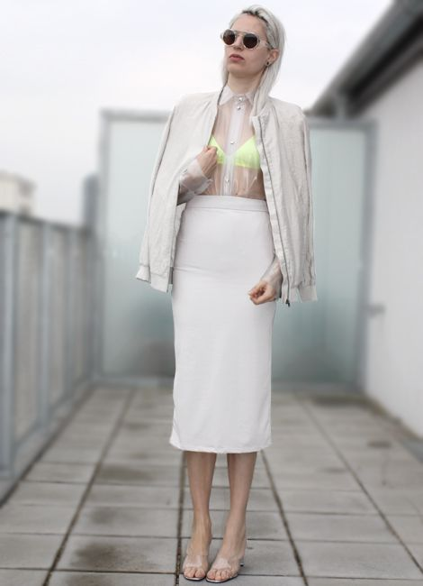 bomber+bra: cos, pvc shirt: adult shop, skirt: no name, sunnies: henry holland,shoes: pleaser (image:stylorectic)