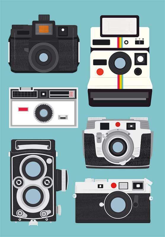 Polaroid poster print, retro wall art,  Nursery print,  Camera poster, modern art  - Polaroid, Rolleiflex, Holga  A3 size Baby blue. $22,00, via Etsy.
