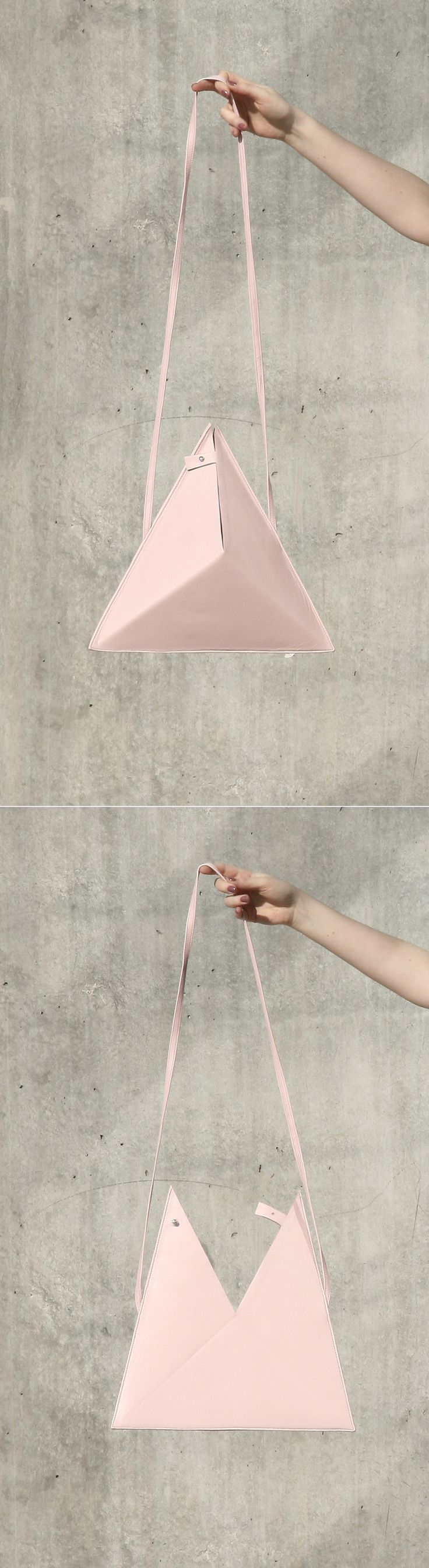 Triangle Bag by IF irinaflorea | minimalist | leather | rose quartz | https://www.facebook.com/irinafloreadesign/