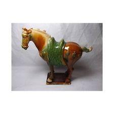 Vtg Asian CHINESE POTTERY HORSE STATUE Majolica Sancai figurine antique