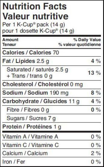 green mountain vanilla iced coffee nutrition facts