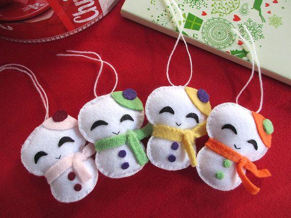 Happy snowmen, felt Christmas decorations