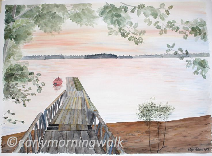 A Finnish landscape. Original watercolor painting by Virpi Kivinen. #finland #finnishart #earlymorningwalk #pier #landscape #lake #art #watercolor