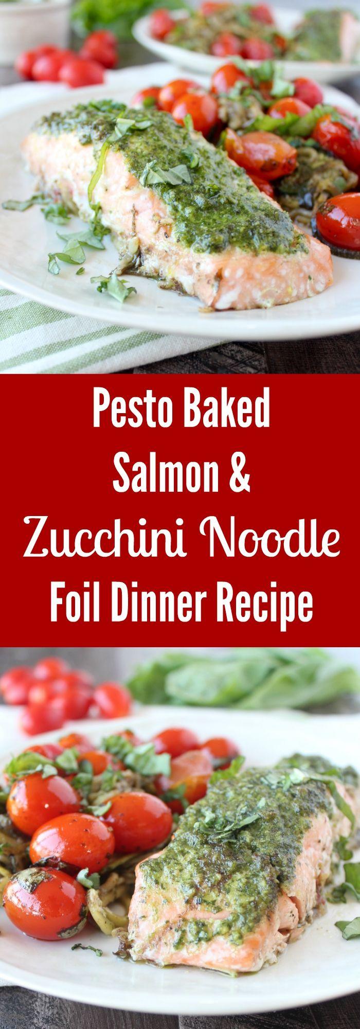... pesto baked salmon, zucchini noodles & balsamic basil cherry tomatoes