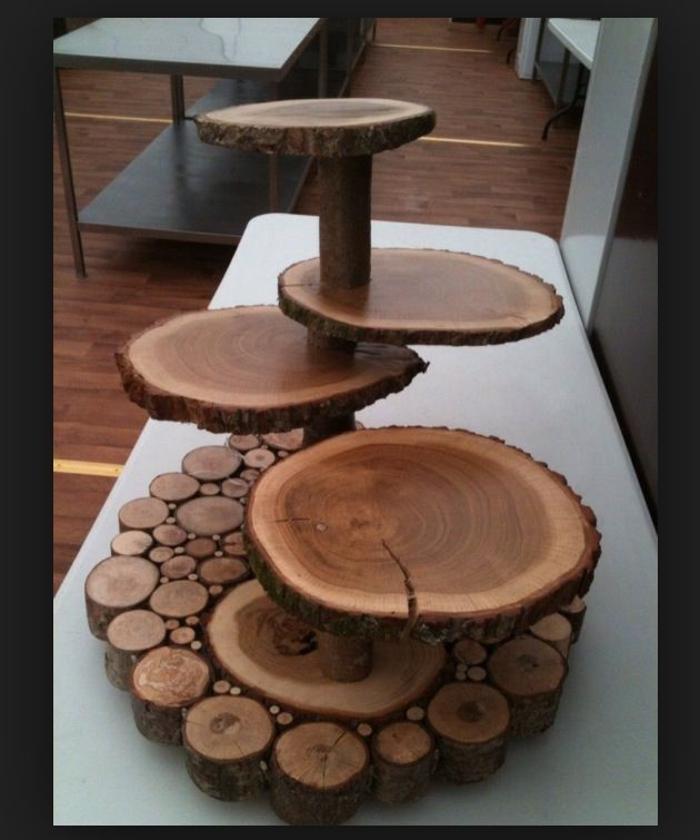 Wood slab cake or dessert stand  Rustic Woodsy Wedding