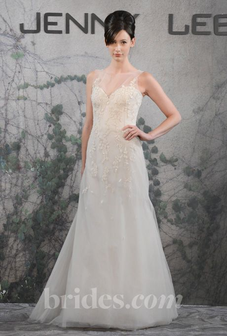 Brides.com: Jenny Lee - Fall 2013. Style 1313, embroidered tulle A-line wedding dress with a high sheer illusion neckline and a sweetheart bodice, Jenny Lee  See more Jenny Lee wedding dresses in our gallery.