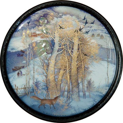Sergey Kozlov, Fedoskino lacquer box, Winter, 2009