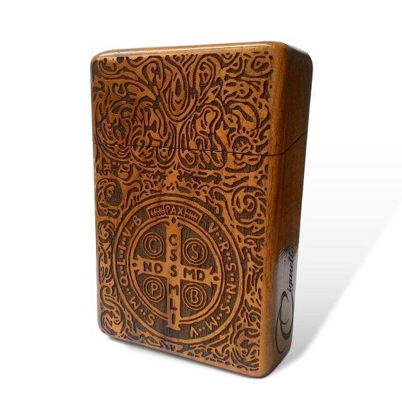 Constantine Java Teak Wooden Cigarette Case Engraved by Maliojava