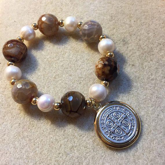 St.benedict medal bracelet AB5100 by AlquimiaShop on Etsy