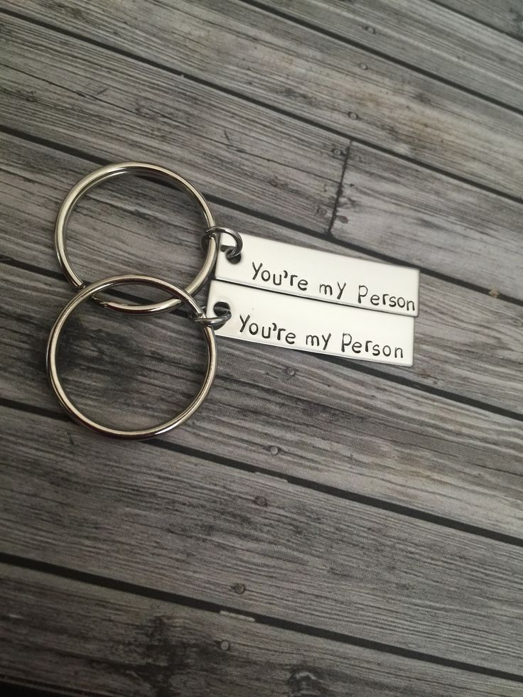 Great gift for your boyfriend or as a best friend gift. Tell your favorite person that they are your person with these you're my person keychains. Each 22g stainless steel bar is about 3/8 x 1.5 inche                                                                                                                                                                                 More