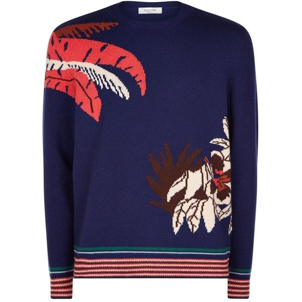 Valentino Palm Tree Cashmere Jumper ($1,735) ❤ liked on Polyvore featuring men's fashion, men's clothing, men's sweaters and mens cashmere sweaters