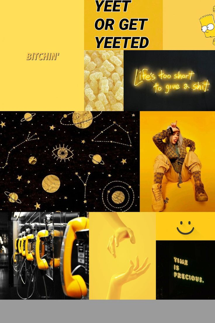 yellow black mood board aesthetic collage wallpaper