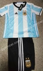 2016-17 Argentina Home Blue and White Kid/Youth Soccer uniform