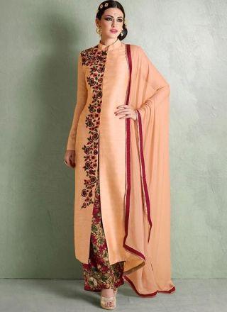 Orange Red Embroidery Work Bhagalpuri Silk Chiffon Designer Pakistani Suit http://www.angelnx.com/Salwar-Kameez