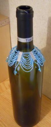 Hand Beaded Wine Bottle Cover  - $20.00 table centerpiece ideas. mead bottles?