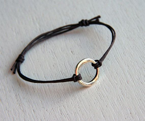 Irregular Circle Bracelet with Waxed Cotton by greenduckweed, $6.00