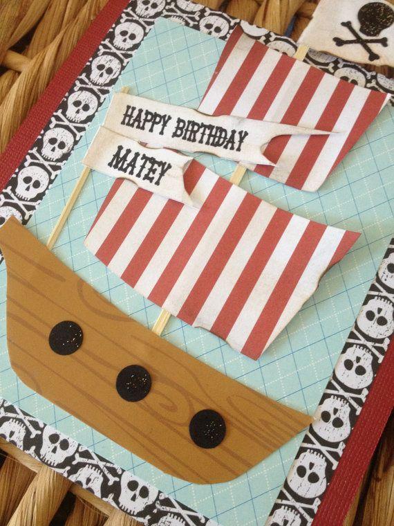 Pirate Birthday card Pirate Ship Birthday Card by CallMeCraftie,
