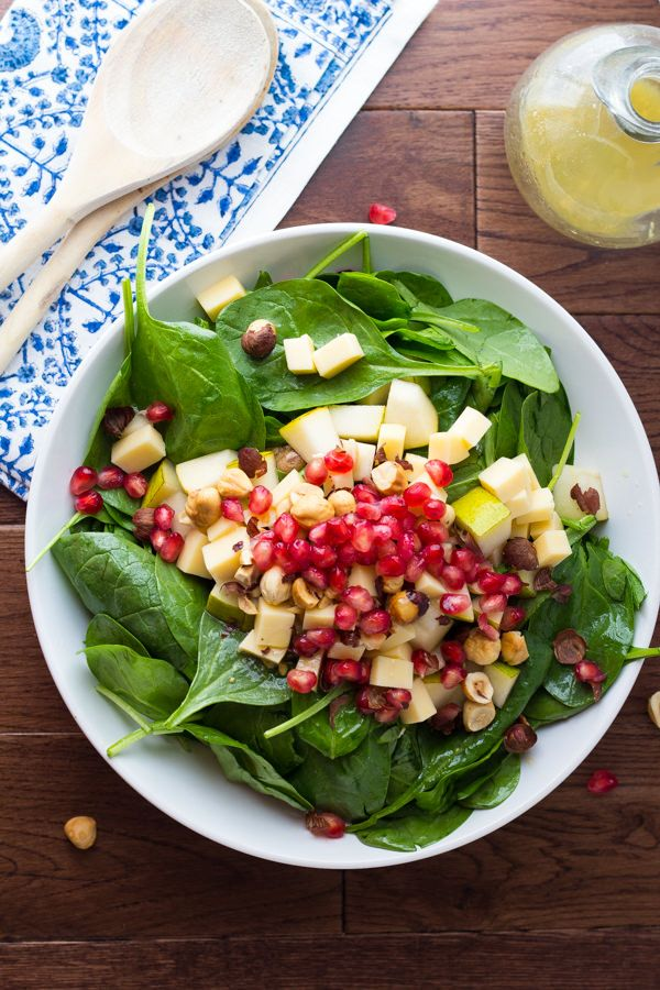 Pear, Gouda and Hazelnut Salad with Pomegranates and a White Wine Vinaigrette