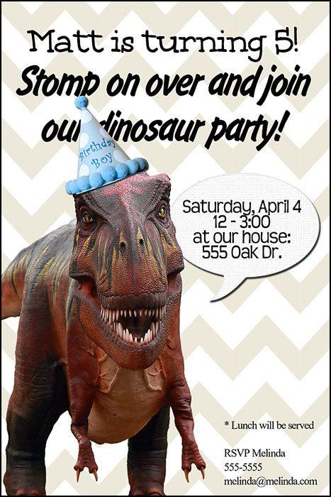 Dinosaur Birthday Party Invitation Print At Home 4x6