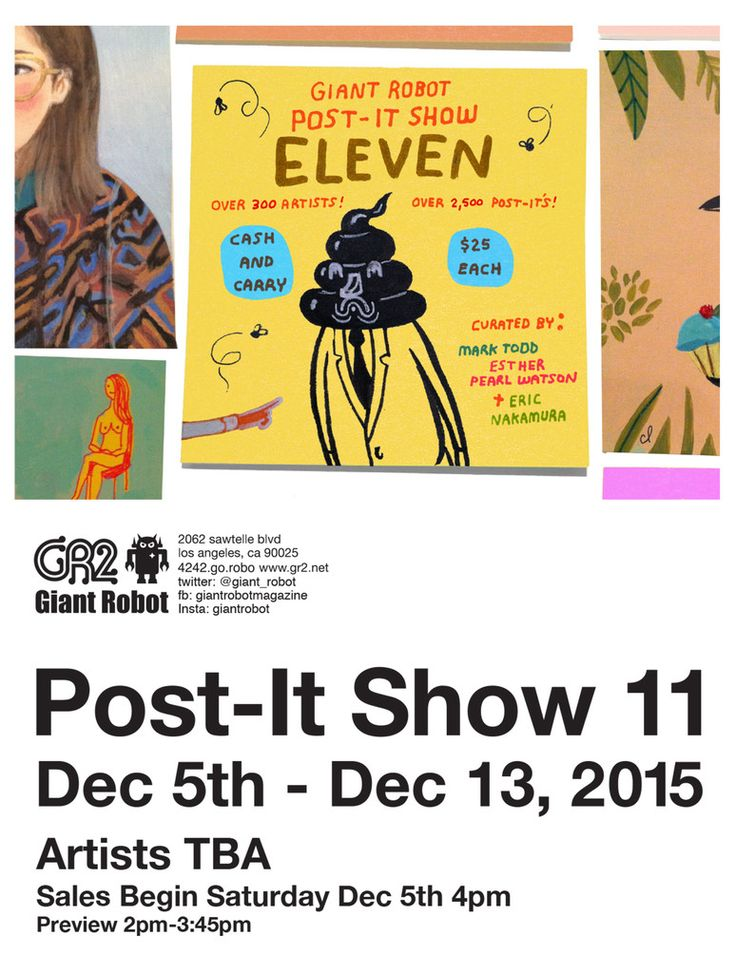 Artist in LA LA Land Illustration & Design: 11th Annual Post-It Art Show at Giant Robot (and My 3rd Year to Participate)