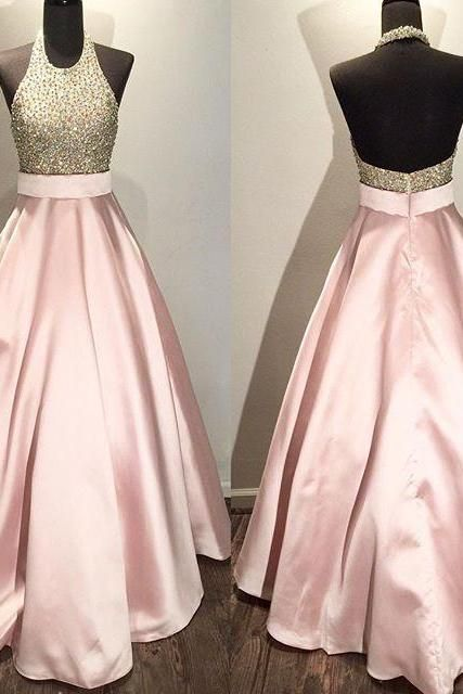 pink prom dresses,halter prom dress open back,beaded ball gowns 2016,women's formal evening gown dresses