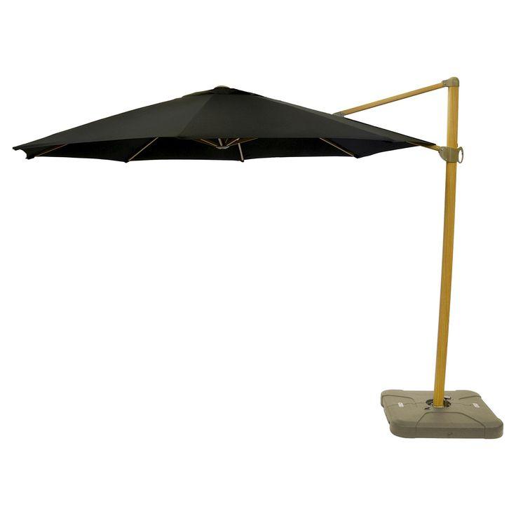 11' Offset Sunbrella Umbrella - Canvas Black - Light Wood Finish - Smith & Hawken