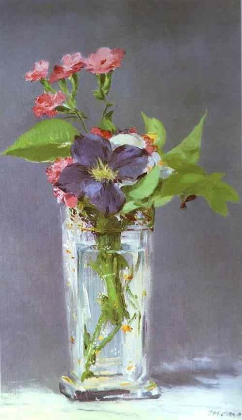 Edouard Manet. Clematis in a Crystal Vase (1881). Born into an upper class household with strong political connections, Manet rejected the future originally envisioned for him, and became engrossed in the world of painting. He married Suzanne Leenhoff in 1863. The last 20 years of Manet's life saw him form bonds with other great artists of the time, and develop his own style that would be heralded as innovative and serve as a major influence for future painters.