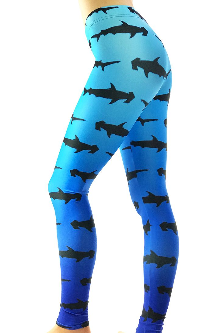 Shark Leggings - Blue Hammer Head Shark print Leggings - Shark Costume - Christmas Gift - Print Leggings - Shark Week