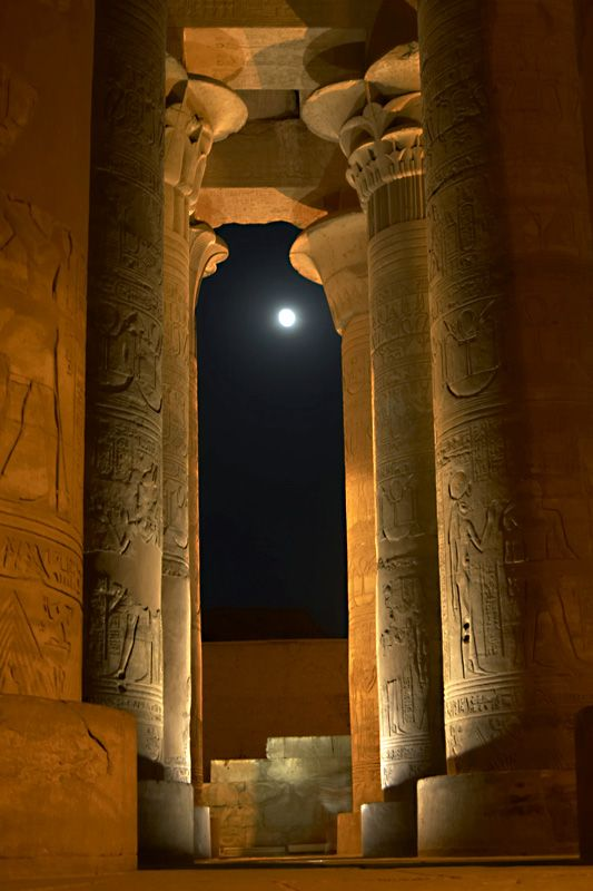 The Great Temple of Amun, Ipet-sut (Karnak), Egypt by full moon light.