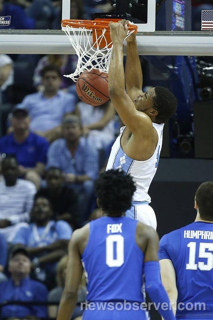 North Carolina's Kennedy Meeks (3) slams in two during the first half of UNC's game against Kentucky in the NCAA Tournament South Regional final at FedExForum in Memphis, TN Sunday, March 26, 2017.