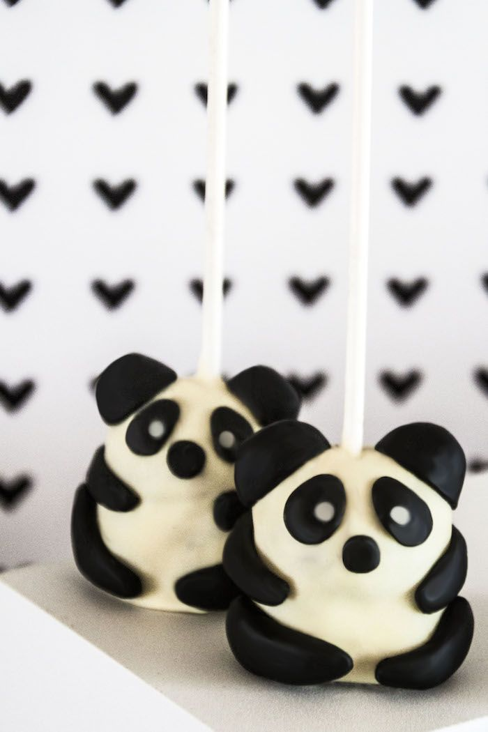 "Cutest ever cake pops from Panda Bear ""Panda-monium"" Birthday Party here at…"