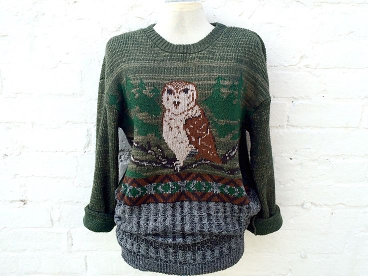 Owl sweater, vintage bird jumper, winter wildlife pullover by retrobelluk on Etsy https://www.etsy.com/uk/listing/478834144/owl-sweater-vintage-bird-jumper-winter