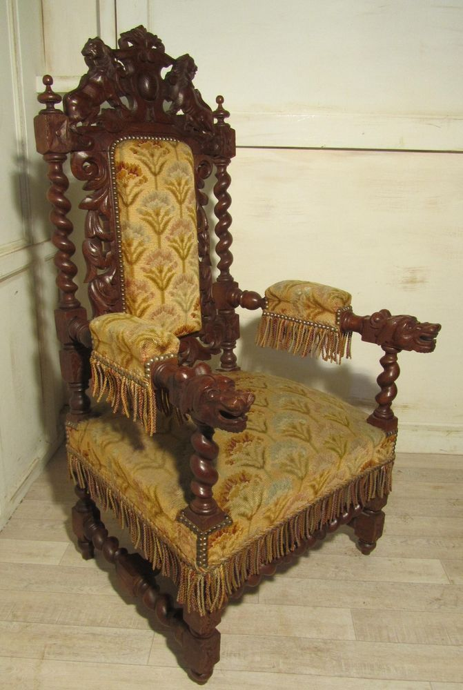 Stunning Victorian Gothic Carved Oak Throne Chair Throne
