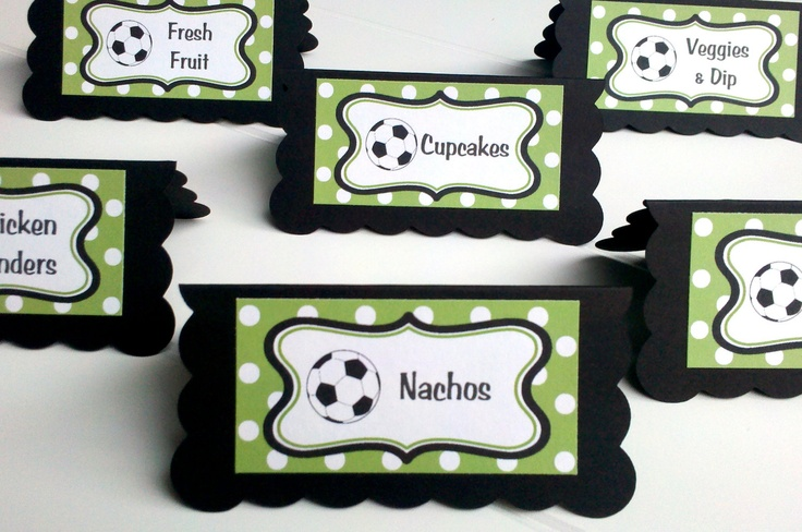 Soccer Theme Food Tents - Menu Cards - Place Cards - Food Signs - Soccer Party & Shower Decorations in Green and Black (6). $12.00, via Etsy.