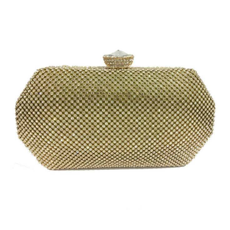 #Gold Beautiful clutch #bag with shimmering stone detail and large pearl fastening.   Perfect gift, versatile accessory for any age. | evening bags | evening bags clutch |  #Gift | #Giftidea |
