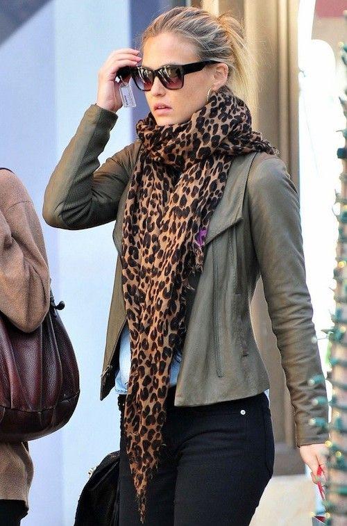 Leather jacket + leopard scarf