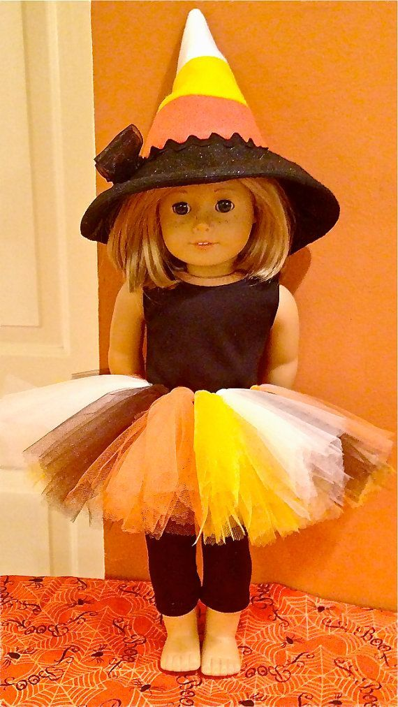 candy corn 18 inch doll halloween outfit | American Girl Candy Corn witch doll costume.