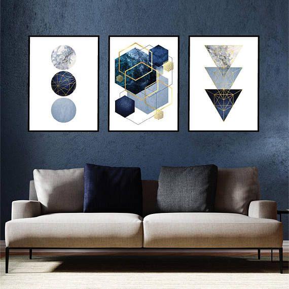 Best Set Of 3 Downloadable Navy Blue Gold Geometric Prints 400 x 300