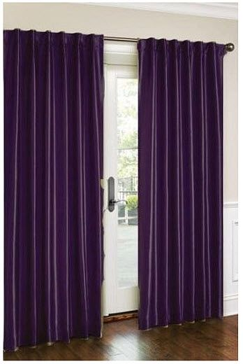 Not sure how I feel about this shade, but dark purple drape curtains for the bathroom shower curtains.