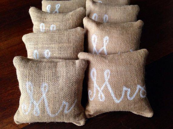 Personalized Burlap Cornhole Bags by CoastalCalligraphy on Etsy, $40.00