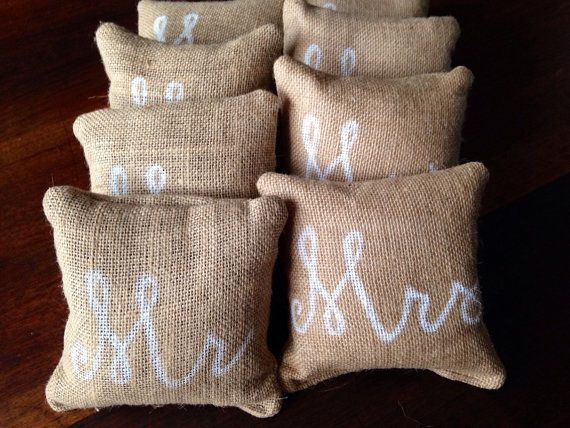 Personalized Burlap Cornhole Bags by CoastalCalligraphy on Etsy, $40.00