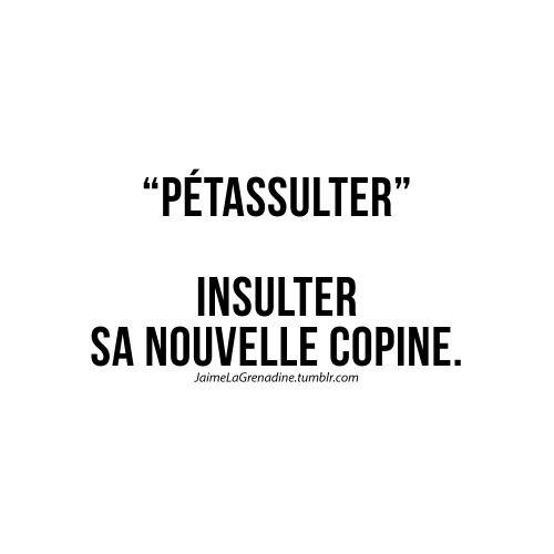 """Pétassulter"" Insulter sa nouvelle copine - #JaimeLaGrenadine #citation #punchline #amour #love #nouvellecopine"