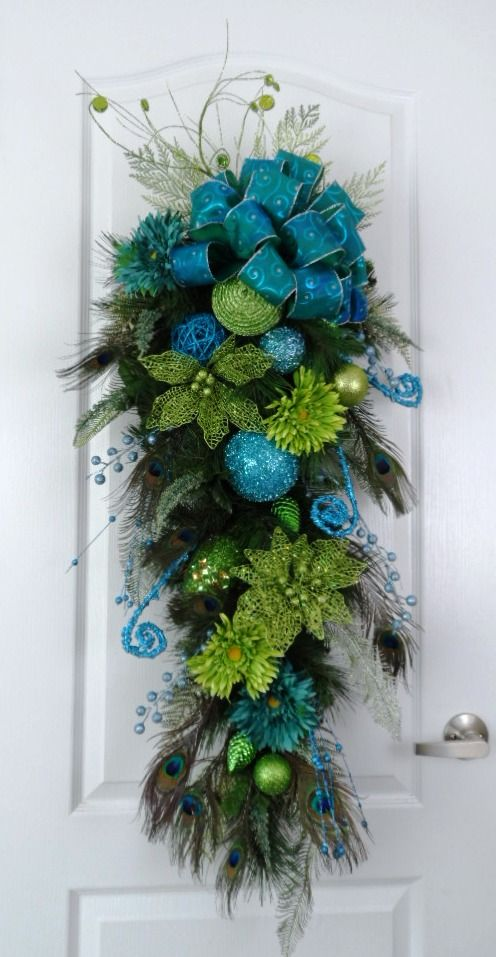 Turquoise and lime green swag....visit this shop for more wreath ideas!